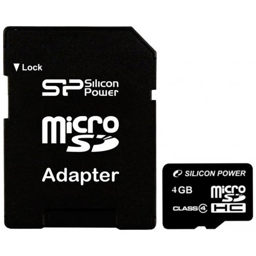 Карта памяти Silicon Power microSDHC 4GB Class 4 (с адаптером) (SP004GBSTH004V10-SP)
