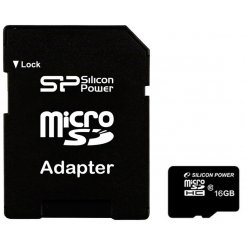 Silicon Power microSDHC 16GB Class 10 (с адаптером) (SP016GBSTH010V10-SP)
