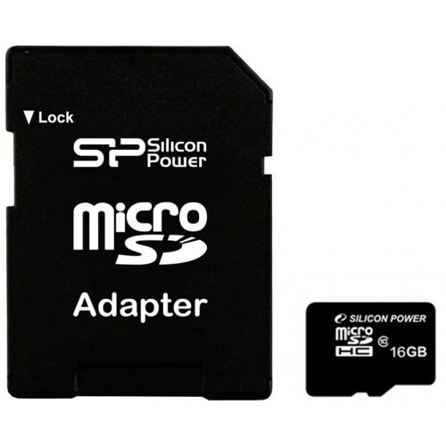Карта памяти Silicon Power microSDHC 16GB Class 10 (с адаптером) (SP016GBSTH010V10-SP)
