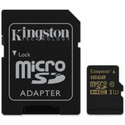 Kingston microSDHC 16GB Class 10 UHS-I (с адаптером) (SDCA10/16GB)
