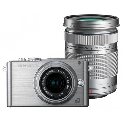 Цифровые фотоаппараты Olympus Pen E-PL3 14-42 + 40-150 Kit Silver/Silver