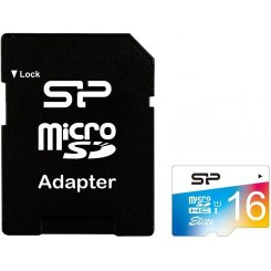 Silicon Power microSDHC 16GB Class 10 UHS-I Elite COLOR (с адаптером) (SP016GBSTHBU1V20SP)