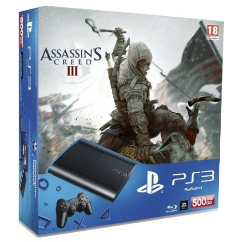 Sony PS3 Super Slim 500GB + игра Assassin's Creed 3