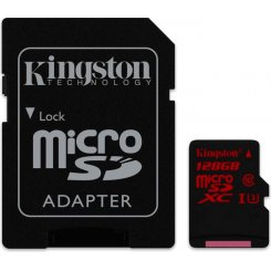 Kingston microSDXC 128GB Class 10 UHS-I U3 (с адаптером) (SDCA3/128GB)