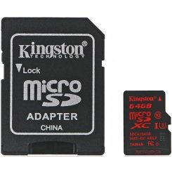 Kingston microSDXC 64GB Class 10 UHS-I U3 (с адаптером) (SDCA3/64GB)