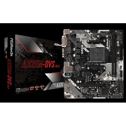 Фото Материнская плата AsRock A320M-DVS R4.0 (sAM4, AMD A320)