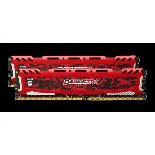 Фото ОЗУ Crucial DDR4 16GB (2x8GB) 3000Mhz Ballistix Sport LT Red (BLS2K8G4D30AESEK)