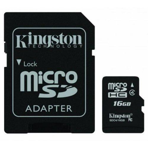 Фото Карта памяти Kingston microSDHC 16GB Class 4 (с адаптером) (SDC4/16GB)