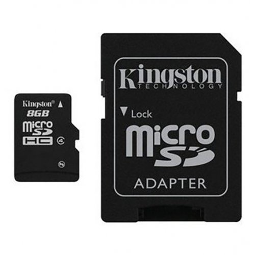 Фото Карта памяти Kingston microSDHC 8GB Class 4 (с адаптером) (SDC4/8GB)