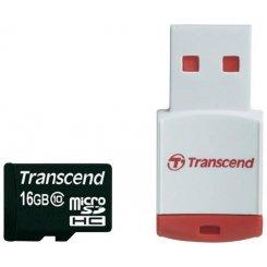 Фото Карта памяти Transcend microSDHC 16GB Class 10 (с кардридером RDP3) (TS16GUSDHC10-P3)