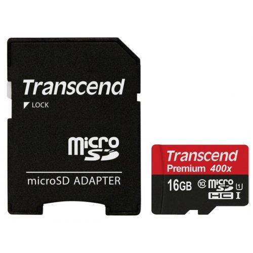 Фото Карта памяти Transcend microSDHC 16GB Class 10 UHS-I Premium 300X (с адаптером) (TS16GUSDU1)
