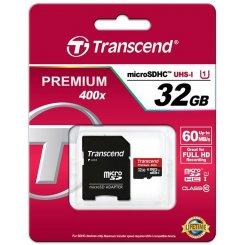 Фото Карта памяти Transcend microSDHC 32GB Class 10 UHS-I Premium 400X (с адаптером) (TS32GUSDU1)