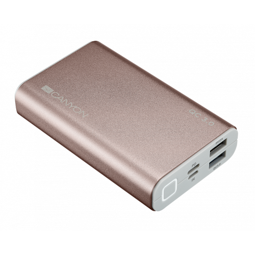 Фото Внешний аккумулятор CANYON Power bank QC3.0 10000 mAh (CND-TPBQC10RG) Rose Gold