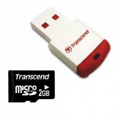 Фото Карта памяти Transcend microSD 2GB (с кардридером)