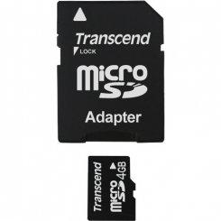 Фото Карта памяти Transcend microSDHC 4GB Class 4 (с адаптером) (TS4GUSDHC4)