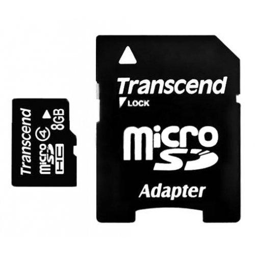 Фото Карта памяти Transcend microSDHC 8GB Class 4 (с адаптером) (TS8GUSDHC4)