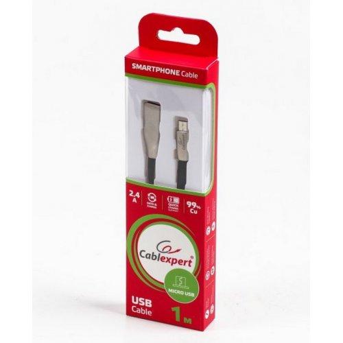 Фото USB Кабель Cablexpert USB 2.0 to micro USB 2.4A 1m F/M Charge/Sync (CCPB-M-USB-03BK) Black/Silver