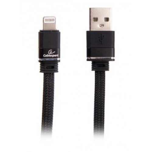 Фото USB Кабель Cablexpert USB 2.0 to Lightning 1m Premium Fabric Charge/Sync (CCPB-L-USB-10BK) Black