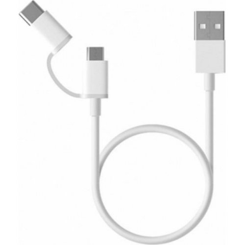 Фото Кабель Xiaomi Mi 2 in 1 USB to microUSB/USB Type-C 1m White