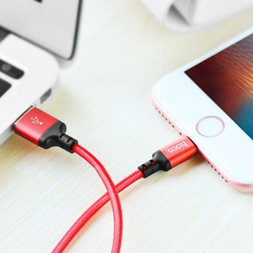 Фото USB Кабель Hoco X14 Times Speed USB to Lightning 2A 1m Data/Charge Red/Black
