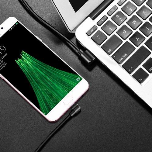 Фото USB Кабель Hoco U37 Long Roam USB to micro USB 2.4A 1.2m 90° Double sided Data/Charge Black