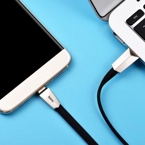 Фото USB Кабель Hoco X4 Zinc Alloy Rhombus USB to USB Type-C 2.4A 1.2m Data/Charge Black/Silver
