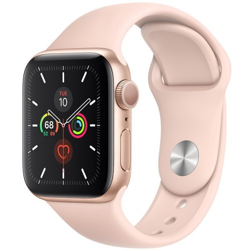 Фото Умные часы Apple Watch Series 5 GPS 40mm Aluminium Case with Pink Sand Sport Band (MWV72) Gold
