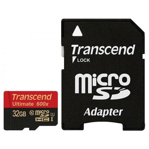 Фото Карта памяти Transcend microSDHC 32GB Class 10 UHS-I Ultimate 600X (с адаптером) (TS32GUSDHC10U1)