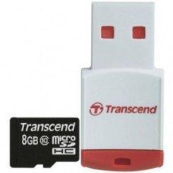 Фото Карта памяти Transcend microSDHC 8GB Class 10 (c кардридером RDP3) (TS8GUSDHC10-P3)