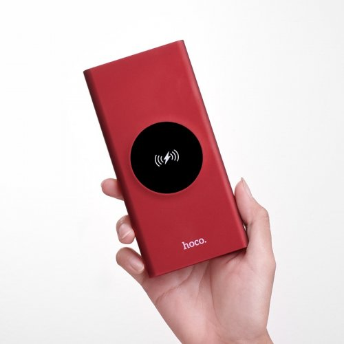 Фото Внешний аккумулятор Hoco J37 Wisdom LED Digital display Wireless 10000mAh Red