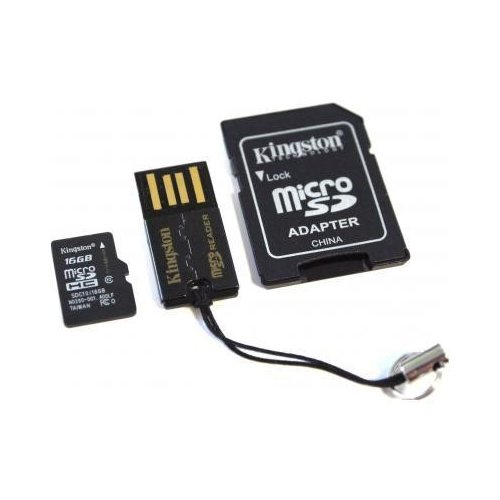 Фото Карта памяти Kingston microSDHC 16GB Class 10 (с адаптером и кардридером) (MBLY10G2/16GB)