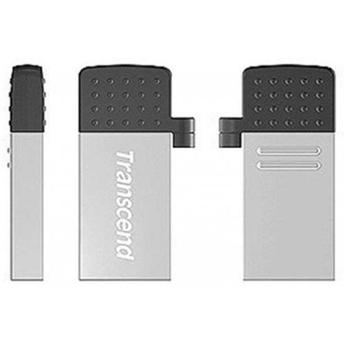 Фото Накопитель Transcend JetFlash 380 USB 2.0/MicroUSB 16GB Silver Plating (TS16GJF380S)