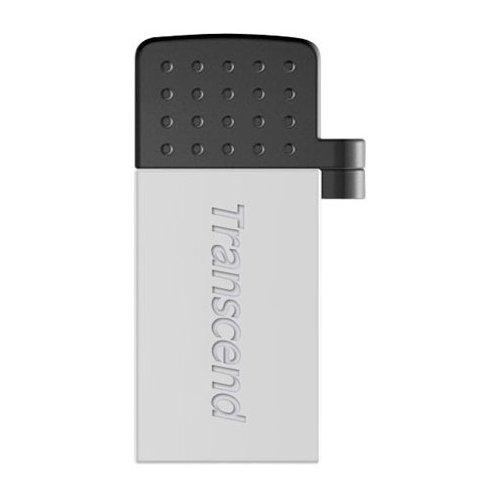 Фото Накопитель Transcend JetFlash 380 USB 2.0/MicroUSB 32GB Silver Plating (TS32GJF380S)