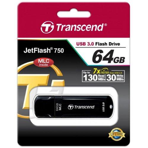 Фото Накопитель Transcend JetFlash 750 USB 3.0 MLC 64GB Black (TS64GJF750K)