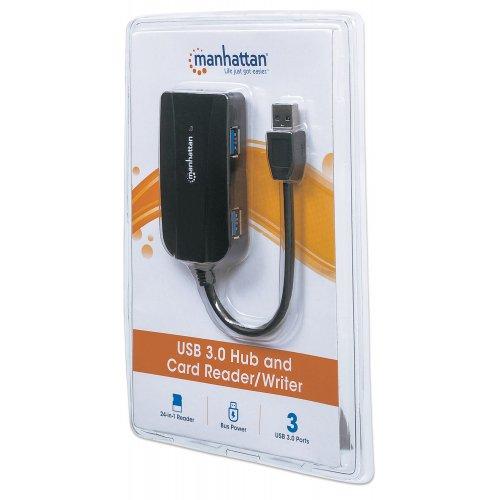 Фото USB-хаб Manhattan SuperSpeed USB 3.0 3-ports with Card Reader/Writer (163590) Black