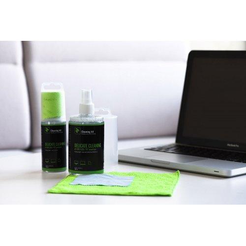 Фото Набор для чистки 2E 2 in 1 Cleaning Kit LED/TFT/LCD 300ml + 2 Cloth (2E-SK300L) Green