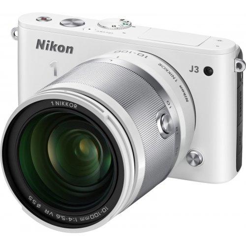 Фото Цифровые фотоаппараты Nikon 1 J3 10-100 VR Kit White