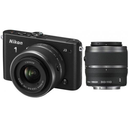 Фото Цифровые фотоаппараты Nikon 1 J3 10-30 VR + 30-110 VR Kit Black