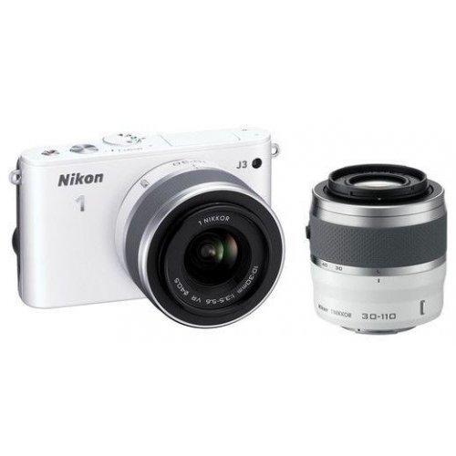Фото Цифровые фотоаппараты Nikon 1 J3 10-30 VR + 30-110 VR Kit White
