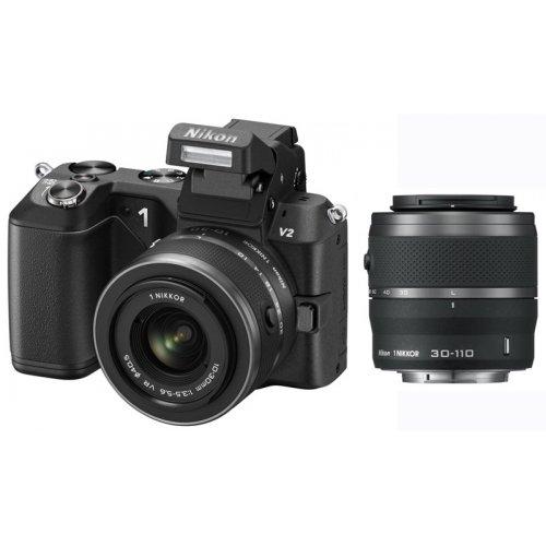 Фото Цифровые фотоаппараты Nikon 1 V2 10-30 VR + 30-110 VR Kit Black