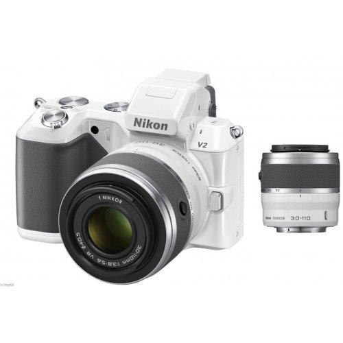 Фото Цифровые фотоаппараты Nikon 1 V2 10-30 VR + 30-110 VR Kit White