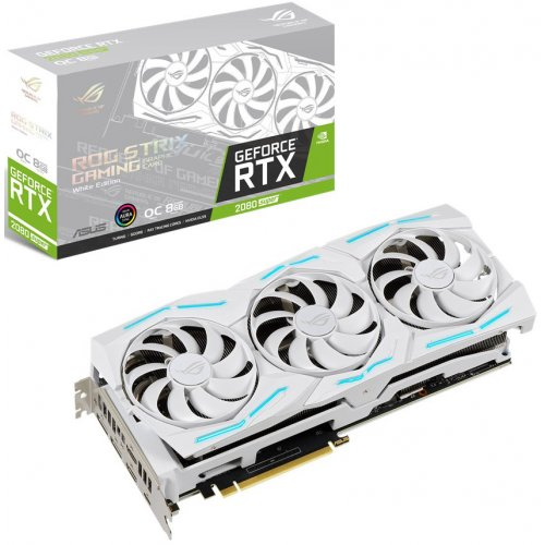 Купить Видеокарты, Asus GeForce RTX 2080 SUPER STRIX OC White 8192MB (ROG-STRIX-RTX2080S-O8G-WHITE-GAMING)