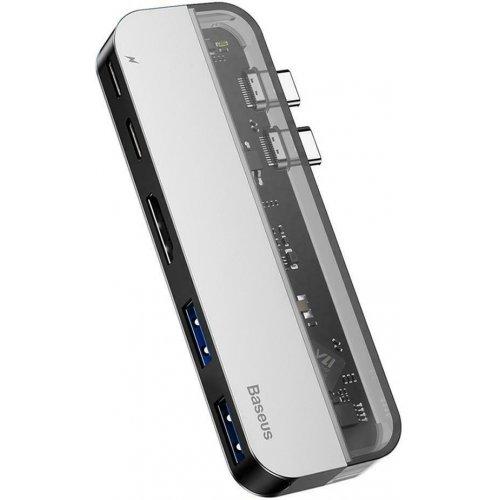 Фото USB-хаб Baseus Transparent Series Dual Type-C Multifunctional (CAHUB-TS0G) Deep Gray