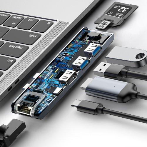 Фото USB-хаб Baseus Thunderbolt C+Pro Seven-in-one (CAHUB-L0G) Grey