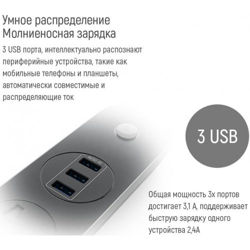 Фото Сетевой фильтр ColorWay 1.8 м 3 розетки + 3 USB (CW-CHU33B) Black