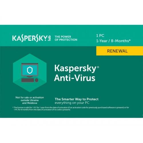 Kaspersky Anti-Virus 2020 1 Desktop 1 year Renewal Card (5056244903213)