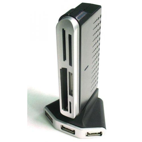 Фото Кардридер Gembird Cardreader with USB 2.0 4-ports hub + microUSB 1-port с БП (UHB-CT18)