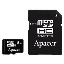 Фото Карта памяти Apacer microSDHC 8GB Class 4 (с адаптером) (AP8GMCSH4-R)