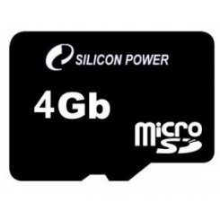 Фото Карта памяти Silicon Power microSDHC 4GB Class 10 (без адаптера) (SP004GBSTH010V10)
