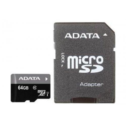 Фото Карта памяти A-Data microSDXC UHS-I 64 GB Class 10 (с адаптером) (AUSDX64GUICL10-RA1)